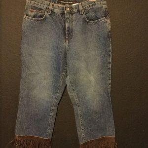 DKNY fringe jeans